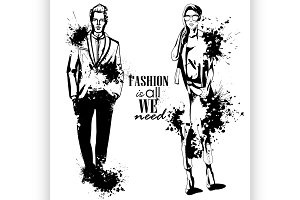 Vector woman and man fashion
