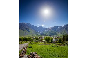 Mountain village. Panoramic summer landscape