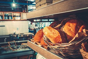 Fresh french bread in restaurant kitchen