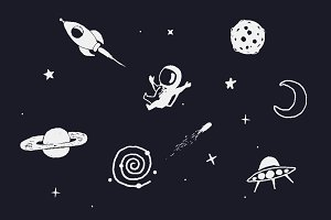 space objects  with seamless pattern