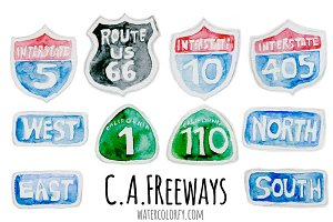 Watercolor CA Freeway Signs