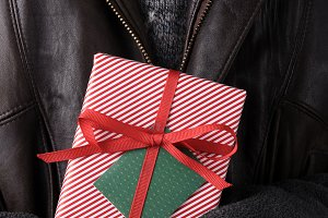 Closeup Man Holding Christmas Presen