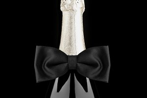Champagne Bottle with Bow Tie Closeu