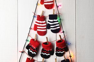 Christmas Tree Lights and Mittens