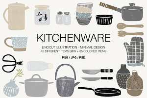 Kitchenware (linocut illustrations)
