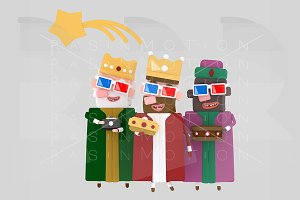 Three Magic Kings with 3d glasses