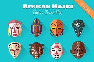 8 African Masks Flat Icons
