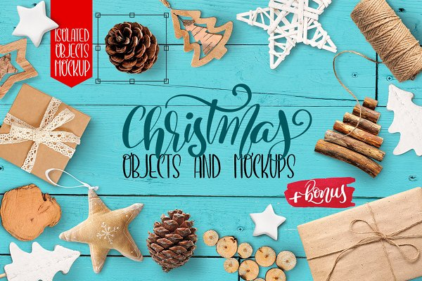 Christmas isolated objects, mock up…
