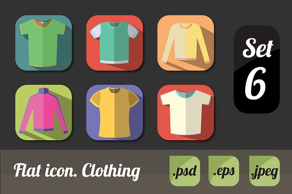 Flat icon. Clothing - Icons
