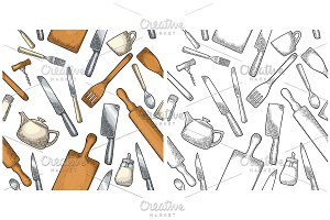 Seamless pattern utensils Engraving
