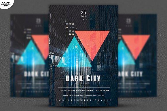 DARK CITY Flyer Template-Graphicriver中文最全的素材分享平台