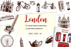 Set of London sketches
