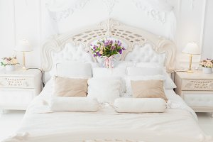 Flowers on the bed.