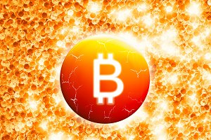 Glowing bitcoin sign with cracks illustration background