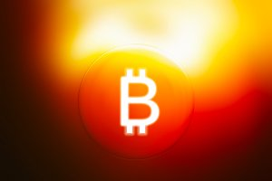 Glowing bitcoin sign illustration background