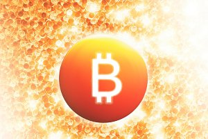 Glowing bitcoin sign painted background