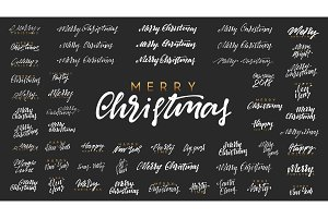 Merry Christmas and Happy New Year, white text calligraphy