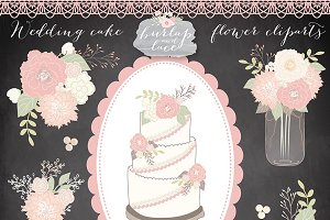 Vector/Wedding cake flower cliparts