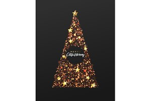 Christmas greeting card. Background Xmas tree made of stars and snine red sparkle particles.