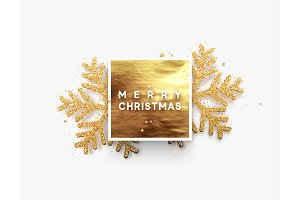 Christmas background, golden square frame with shining gold snowflakes sprinkled sparkles.
