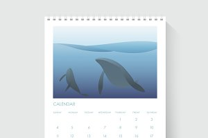 Calendar Showing Date Day with Whale