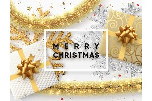 Christmas background. Design illustration golden bright decorations, shining sparkles of snowflakes, gift box, gold tinsel and light garland.