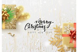 Christmas illustration with gift box, background golden wood texture. Xmas greeting card