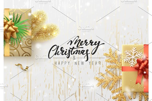 Christmas illustration with gift box, background golden wood texture ...