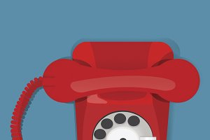 Red Retro Vintage Telephone