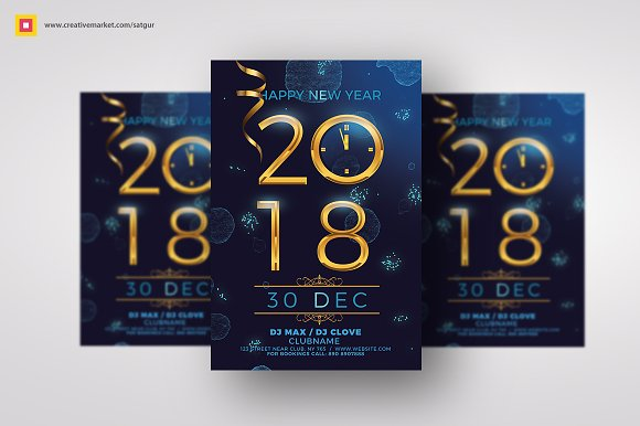 Modern New Year Flyer-Graphicriver中文最全的素材分享平台