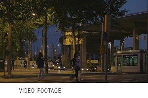 Night traffic in Barcelona.
