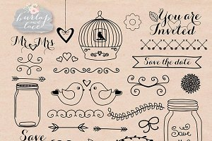 Hand draw Wedding clipart