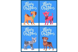Merry Christmas Postcards with Pedigree Dogs Set