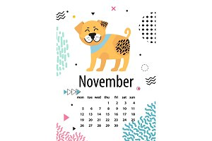 November Page of Calendar Vector Illustration