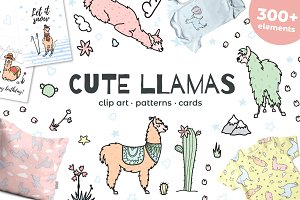 Cute llamas: big clipart&pattern set