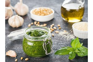 Homemade basil pesto sauce ingredients