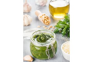 Homemade parsley pesto sauce ingredients