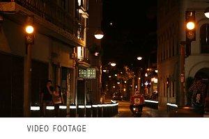 Night street traffic and pedestrians