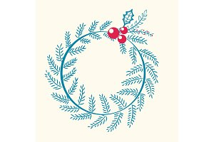 Christmas Pattern Wreath Berry Vector Illustration