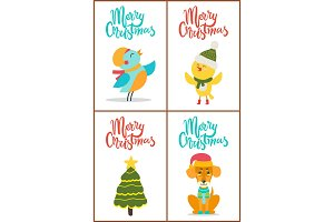 Merry Christmas and Images Vector Illustration