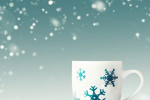 Winter mug with snowflakes, layout
