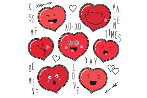 Cute set of fashion patches with cartoon characters of hearts emoji