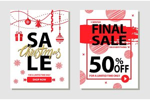 Winter Final Sale Posters Set Vector Illustration