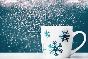 Winter holidays layout with mug
