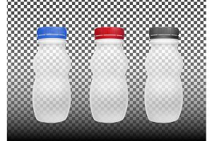 Transparent empty plastic bottle for