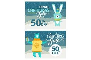 Final Christmas Sale Set on Vector Illustration