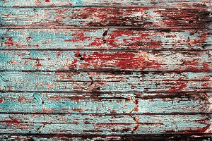 Blue red shabby chic timber boards