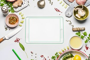 Modern cooking with tablet , layout