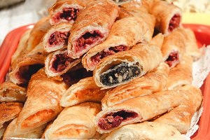 Puff pastry with cherry and poppy filling