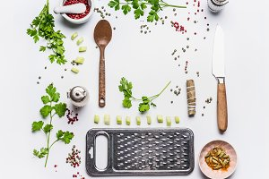Healthy eating and cooking flat lay